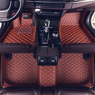 8X-SPEED Custom Car Floor Mats Fit for Audi A6 2007-2018 Avant Full Coverage All Weather Protection Waterproof Non-Slip Leather Liner Set Brown