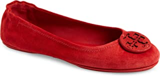 Tory Burch Women's Mini Travel Ballet Suede Leather Flats Shoes Ruby Red