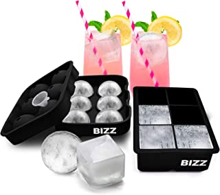 Bizz Silicone Ice Molds 2-Tray Set with funnel, Sphere and Cube Combination, Flexible, Reusable, BPA Free, Easy to Freeze,...