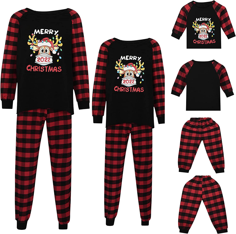 Matching Family Pajamas Sets Christmas Pjs Set 2022 Deer Long Sleeve Top + Pants Sleepwear Xmas Loungewear