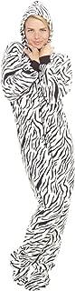 Footed Pajamas - Zebra Stripes Adult Hoodie Fleece Onesie