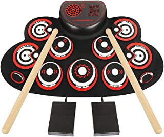 Electronic Drum Set - YUOIOYU Practice Drum Pad Roll Up Potable Drum Kit with Headphone Jack Built-in Speaker Drum Sticks 10 Hours Playtime, Great Holiday Birthday Gift for Kids Adult