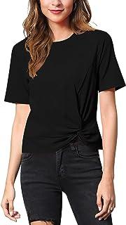 MessBebe Women's Short Sleeve T Shirts Crew Neck Cotton Top Casual Knot Twist Front Blouse Soft Summer Shirt