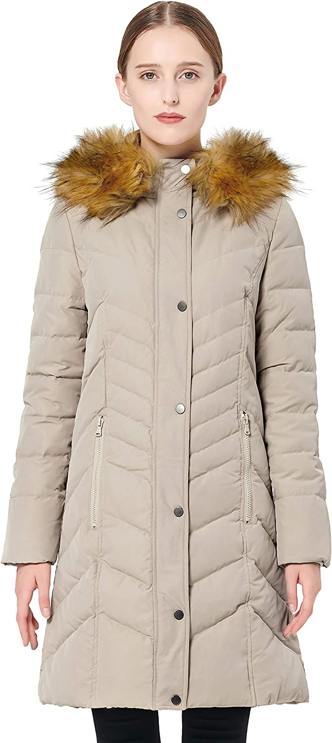 Orolay Womens Thickened Mid-Long Down Jacket with Hood