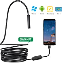 USB Endoscope 3 in 1 Semi-Rigid Type C Borescope Inspection Camera 2.0MP CMOS HD Waterproof IP67 Snake Camera with 8 Adjustable Led for Android, Windows & MacBook OS Computer 16.4 ft(5M)