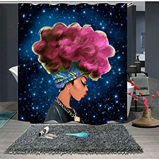 UniTendo African American 3D Retro Style Print Waterproof Polyester Shower Curtain with 12 Hooks for Bathroom Decor,Mildew Free,72 x 72 inches, Red Hair Afro Girl.