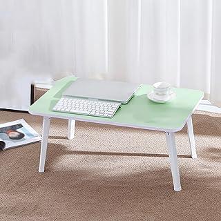 DS- ノートブッククーラー ソリッドウッド小さなスクエアテーブル小さなダイニングテーブル折りたたみダイニングテーブル折り畳み式コンピュータデスク小型ワークベンチリムーバブルラップトップデスクポータブル学習テーブルドミトリーベッドサイドコンピュータデスクベッドデスク && (色 : Green)
