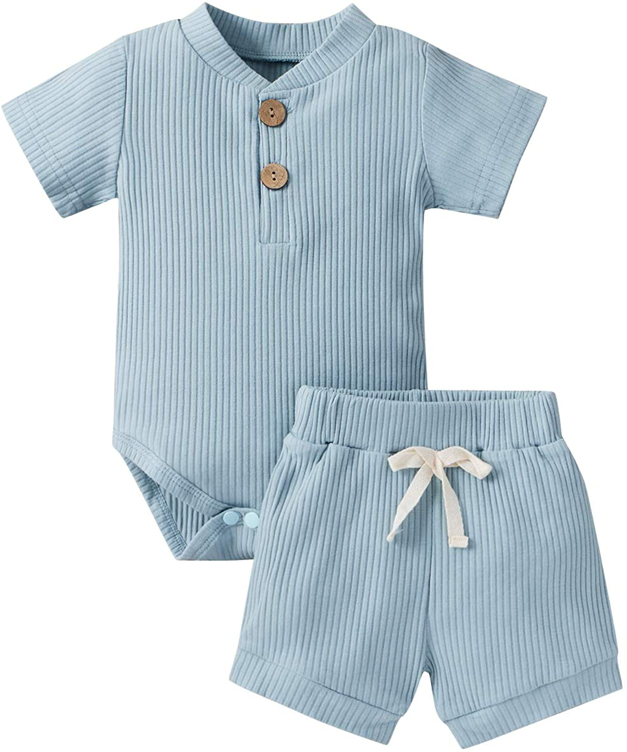 2pcs Summer Newborn Baby Boy Girl Ribbed Shorts Outfits Solid Short Sleeve Romper Bodysuit+Short Pant Summer Clothes Set