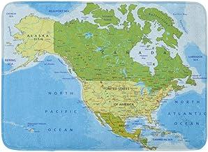 ECNM56B Felpudos Alfombras de baño Alfombrilla para la Puerta Azul México Mapa político Altamente detallado Capas separadas América del Norte y Central Verde Estados Unidos 15.8