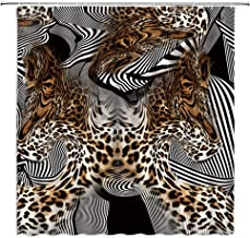 Leopard Print Shower Curtain African Wild Animal Leopard Zebra Skin Print Stripes Abstract Creative Modern Home Bathroom D...