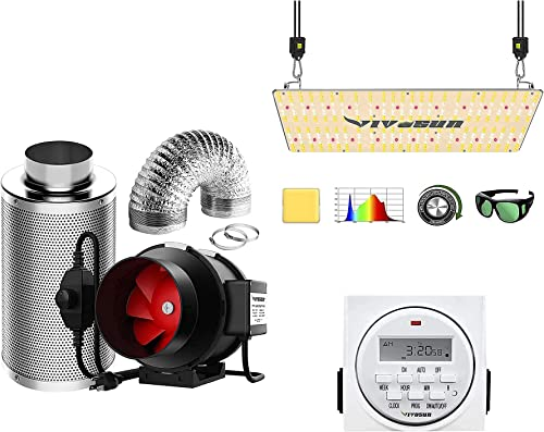 lowest VIVOSUN 6 2021 Inch 390 CFM Inline Fan high quality Package, with VS2000 LED Grow Light and 7 Day Programmable Digital Timer, Samsung LM301H Diodes & Brand Driver sale
