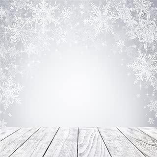 AOFOTO 10x10ft Snowflake Backdrop Dreamy Winter Photography Background Wood Floor Kid Baby Girl Child Toddler Artistic Portrait Christmas Photo Shoot Studio Props Video Drop Wallpaper Drape