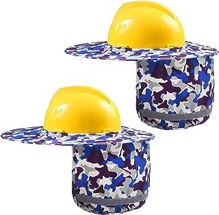 Ruisita 2 Pieces Hard Hat Sun Shield Helmet Full Brim Sun Mesh Neck Shield Sunshade with Reflective Stripe for Hard Hats, Reflective, High Visibility (Blue Camouflage)
