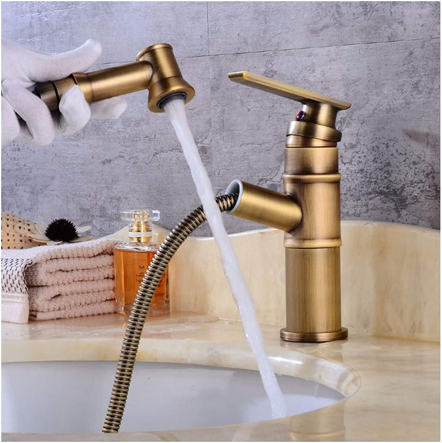 PatTheTap Retro Bronze Pull Out Short Faucet Vintage Brushed All Copper Tap Round Base 1-Hole 1 Handle Water Tap Hot and Cold Mixing Water-Tap with Hoses for Kitchen Bathroom Washbasin Sink