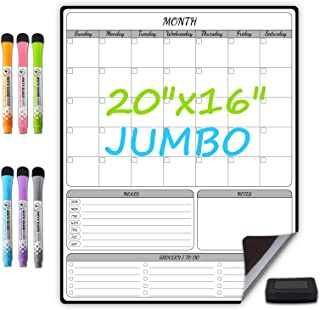 """$20 » Extra Large Magnetic Dry Erase Whiteboard Planner for Fridge - 16""""x20"""" - Monthly Calendar,Meal Planner and Notes/to Do/Gro..."""