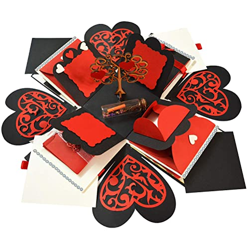Decut Handmade Explosion Box for Birthday Anniversary Wedding All Occasion Explosion Box(Red Non Customized)