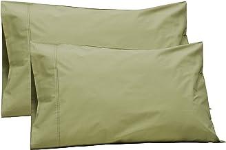 100% قطن بركال حجم كينج، المريمية، 2 قطعة من أغطية الوسادات، كتان سرير قوي ومنعش