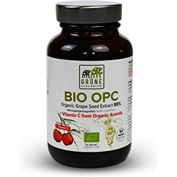 Organic Grapefruit Seed Extract 410mg OPC Capsules - Vitamin C, Acerola & Proanthocyanins Antioxidants - French Vineyard Organic Grapes Supplement - 60 Capsules