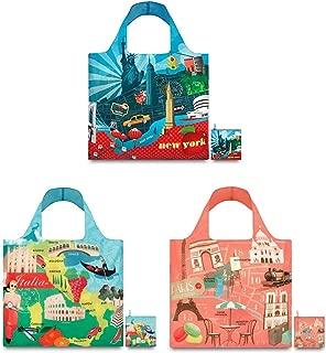 LOQI A72169 Urban Reusable Shopping Bags, (Set of 3), New York, Italy, Paris