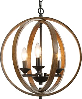 "LOG BARN 15.5"" Globe Chandeliers Farmhouse Pendant Light, 3-Light Hanging Foyer Lighting, Faux-Wood Finish (15.5"
