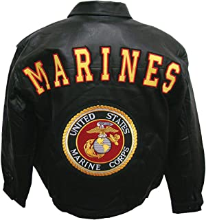 Marines Military Leather Jacket Features Coordinating Logos