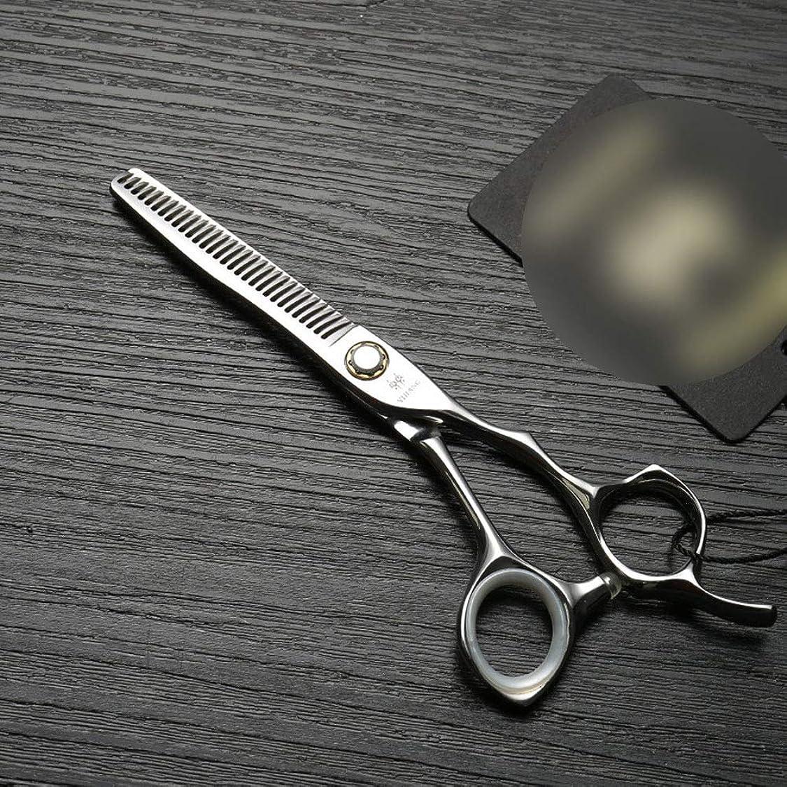 検出可能ふける小道6インチの専門の理髪はさみ、軸受けねじステンレス鋼の薄くなるはさみ ヘアケア (色 : Silver)