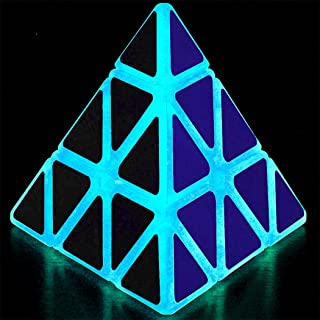 TANCH Glow in the Dark Pyramid Speed Cube 3x3 Triangle Magic Cube Puzzle half Transparent
