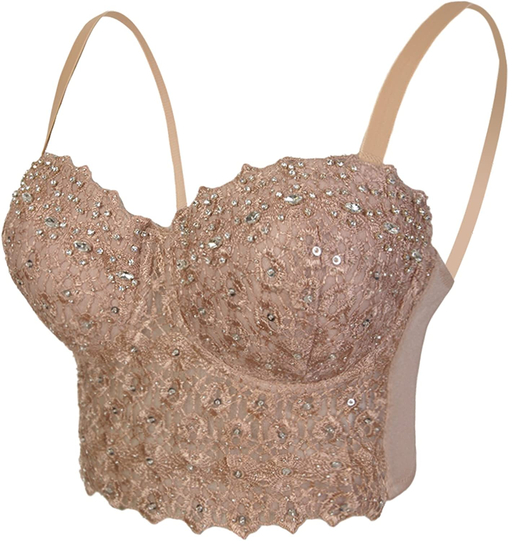 She'sModa Women's Lace Bustier Diamond Wedding Party Crop Top Bra Vest