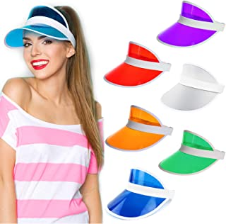 Ultrafun Unisex Candy Color Sun Visors Hats Plastic Clear UV Protection Cap for Sports Outdoor Activities