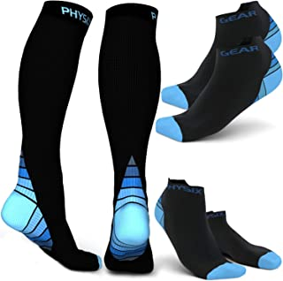 Physix Gear Sport 3 Pairs of Compression Socks for Men & Women 2 Pairs Low Cut & 1 Pair Knee High (Black/Blue) S-M Size