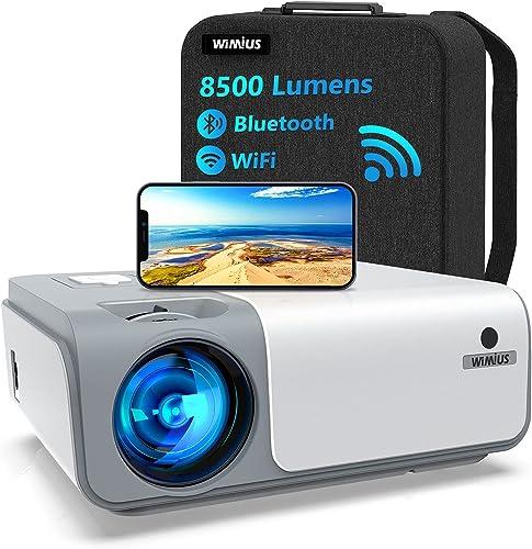 5G WiFi Videoprojecteur Full HD Bluetooth-WiMiUS W1,8500 Lumen Projecteur 1080p Natif, Soutiens 4k,Correction Trapézo...