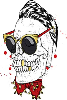 Eaiizer Poster Wall Art Print Stylish Skull with Glasses and Butterfly with Spikes for The Hipster Skeleton Style 12x18 Inches Artwork for Home Bedroom Decor