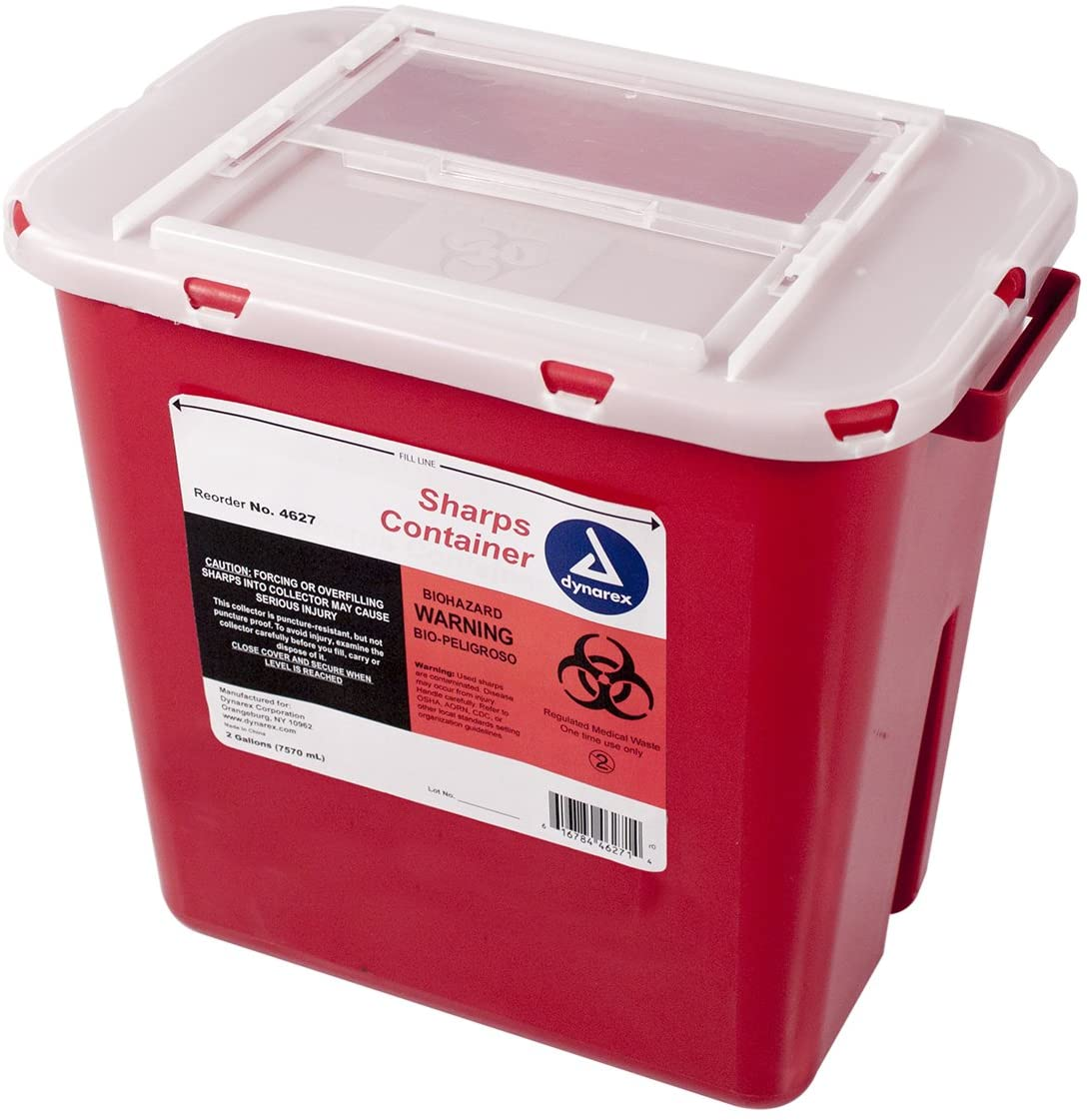 Dynarex Sharps Animer and price revision Max 63% OFF Container - Needle Multiple-Use Disposa Biohazard
