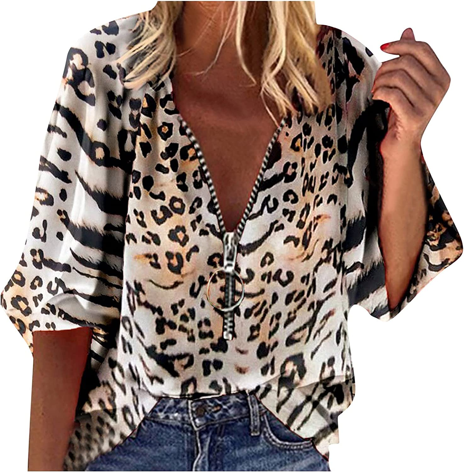 Leirke Womens Summer Top, Fashion 3/4 Sleeve Casual Cute Star Printed Tunic Tops, Loose Fit T-Shirt Zipper V-Neck Blouses Tee