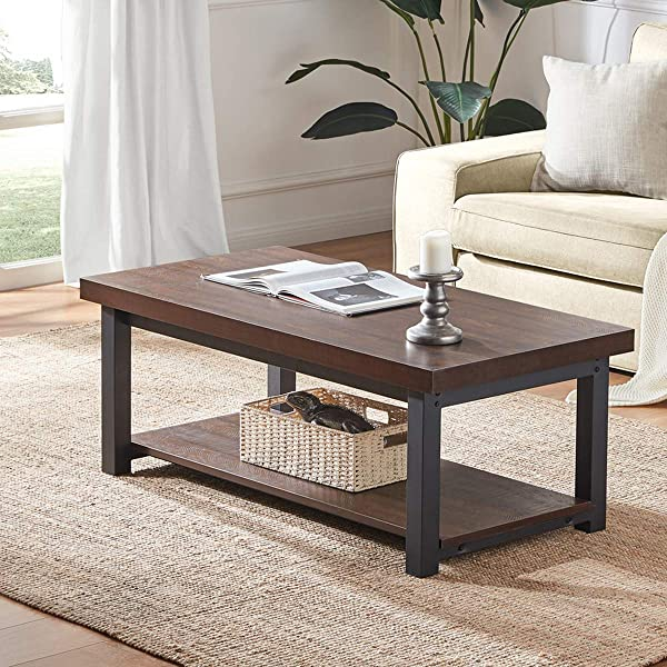 DYH Coffee Table Rustic Wood And Metal Cocktail Table With Shelf For Living Room Vintage Espresso