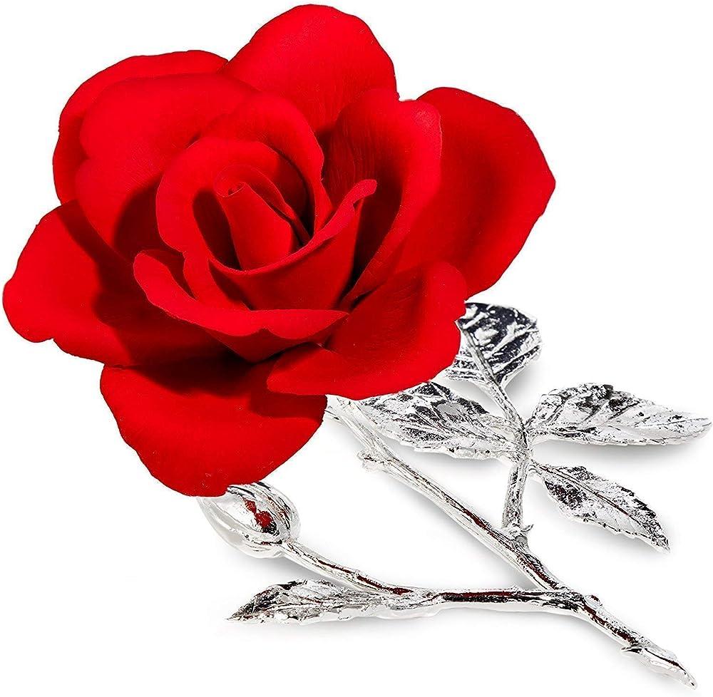 Union snc di vicino alessandro & c. rosa rossa in porcellana su rametto in peltro argentato