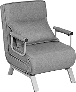 Giantex Convertible Sofa Bed Folding Arm Chair Sleeper, 5 Position Recliner Full Padded Lounger Couch Bed, Mental Frame with Detachable Armrest Cover Home Office Furniture with Pillow (Gray)