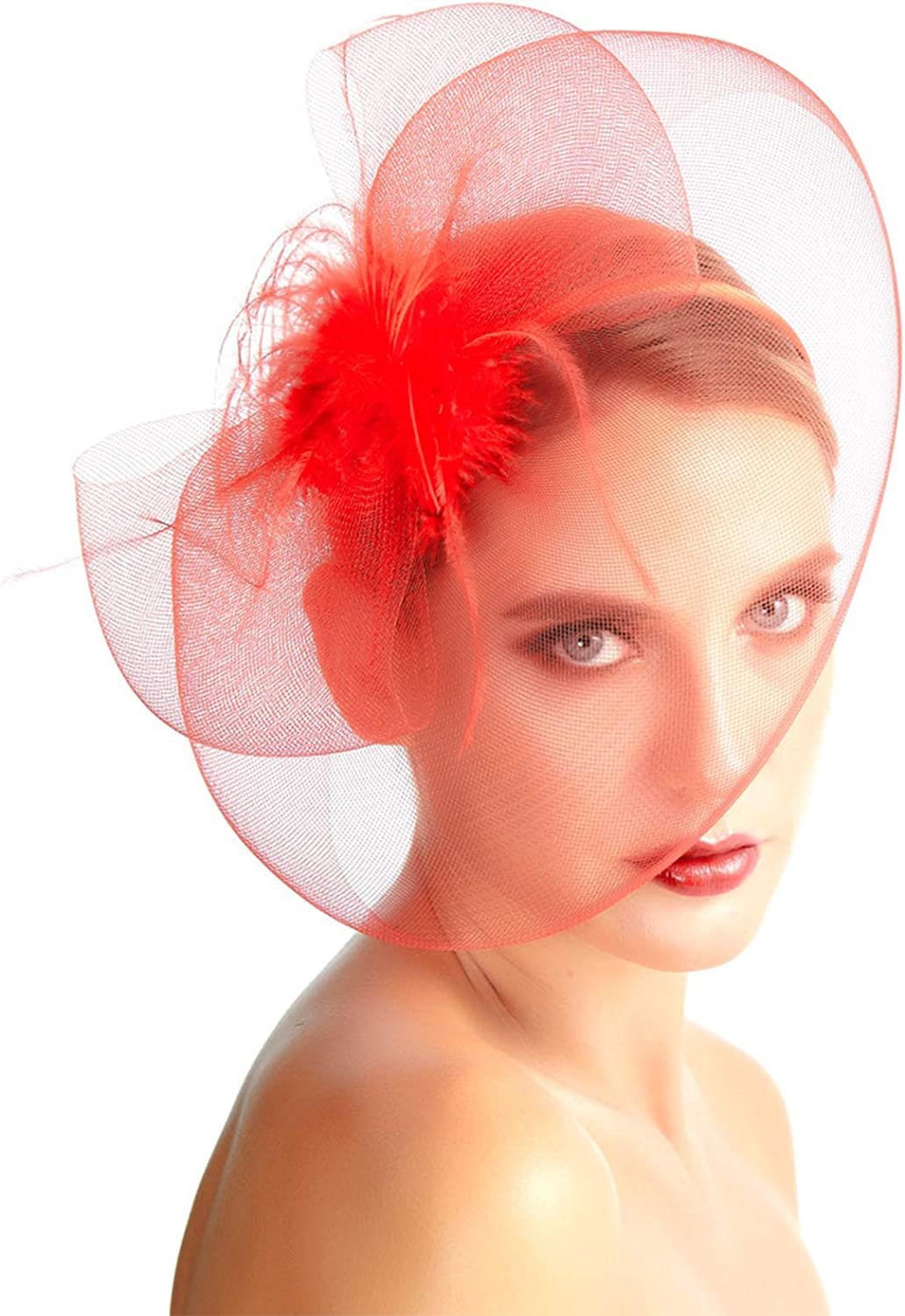SACASUSA Fascinator Feather Mesh Net Cocktail Hat Headwear Party with Headband