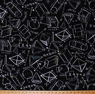 Fleece Geometry Shapes Chalkboard Drawings 3D Diagrams Equations Formulas Sketches Notes Algebra Math Mathematics Science School Education Teachers Black Fleece Fabric Print by the Yard (o43435-1b)