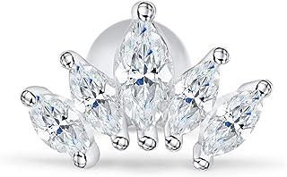 c027a103924657 14k Gold Plated Simulated Diamond Cz Heart Queen Bridal Mermaid Princess  Crown Tiara Ear Studs Post