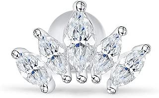 ONDAISY 14k Gold Plated Simulated Diamond Cz Heart Queen Bridal Mermaid Princess Crown Tiara Ear Studs Post Ball Earring Piercing For Women