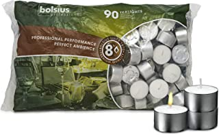 BOLSIUS Tea Lights Candles - Pack of 90 White Unscented Candle Lights with 8 Hour Burning Time - Tea Candles for Wedding, Home, Parties, and Special Occasions