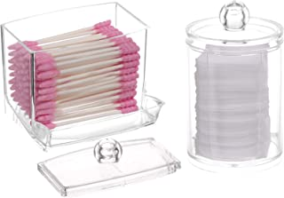 Tecbeauty 2-Pack Cotton Swab Pads Container Box with Lids, Clear Acrylic Qtip Holder Balls Dispenser for Bathroom, Makeup ...