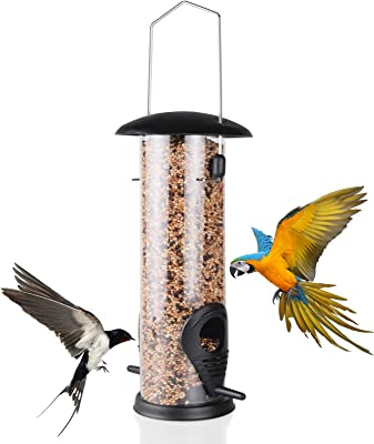 QDBNW Hanging Wild Bird Feeder with 2 Port Bird Feeders Premium Hard Plastic Detachable Wild Bird Feeder Black