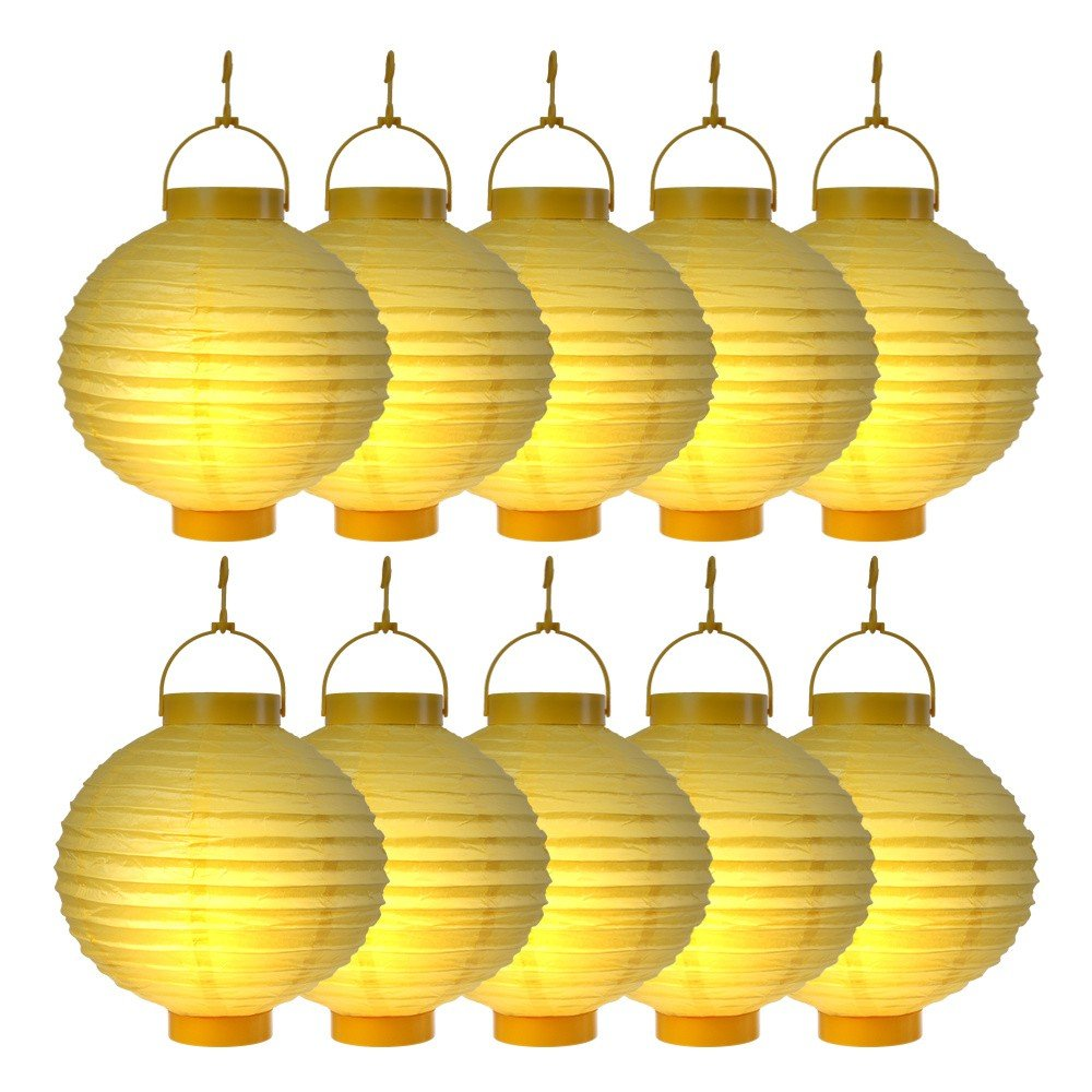 S/o® 10 unidades LED farolillos Amarillo Farol farolillo Jardín Balcón Terraza Fiesta iluminación decoración: Amazon.es: Jardín