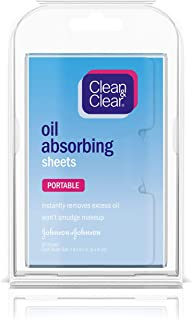 Clean & Clear Oil Absorbing Facial Sheets, Portable Blotting Papers for Face and Nose, Blotting Sheets for Oily Skin to Instantly Remove Excess Oil and Shine, Absorbing Blotting Papers, 50 ct (6 Pack)