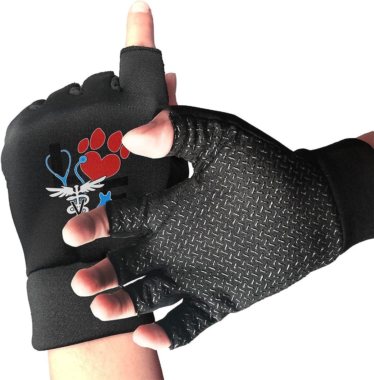 Love Cat And Dog Veterinary Non-Slip Working Gloves Breathable Sunblock Fingerless Gloves For Women Men