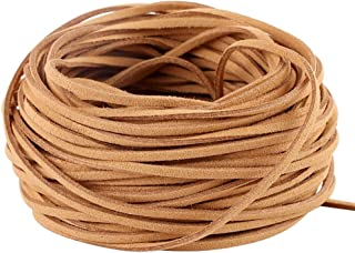 Navifoce Genuine Flat Suede Leather Cord Lace Beading Craft Thread String, 3mm, 20m Spool (Brown)