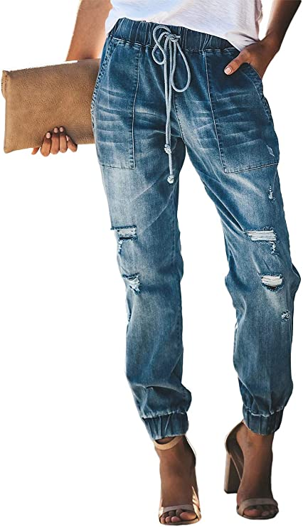 Feditch Women's Pull-on Distressed Elastic Waist Denim Joggers Pants with Pockets