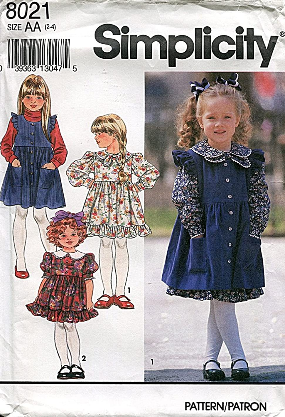 Simplicity Pattern 8021, Girl's Dress and Pinafore, Size AA (2-3-4)